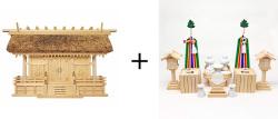 神棚 茅葺三社宮〈K-7〉+神具セット(フル・中)のセット