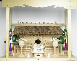 神棚 茅葺三社宮〈K-7〉+神具セット(フル・中)+神棚板+雲板(大)のセット