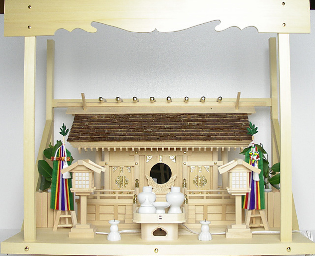 神棚 桧皮葺三社宮〈H-4〉+神具セット(フル・中)+神棚板+雲板(大)のセット