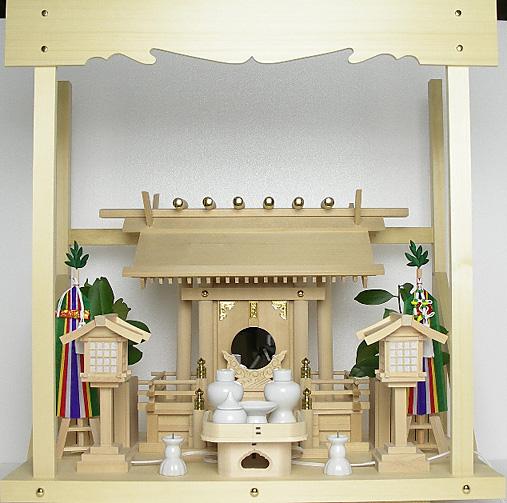 神棚 板葺一社宮〈I-28〉+神具セット(フル・中)+神棚板+雲板(中)のセット