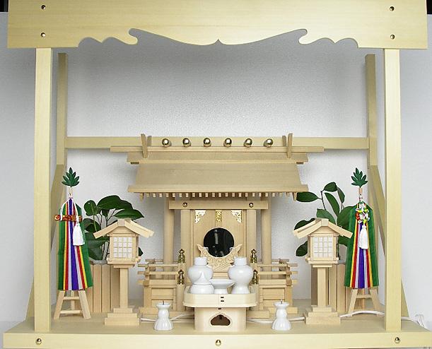 神棚 板葺一社宮〈I-28〉+神具セット(フル・中)+神棚板+雲板(大)のセット